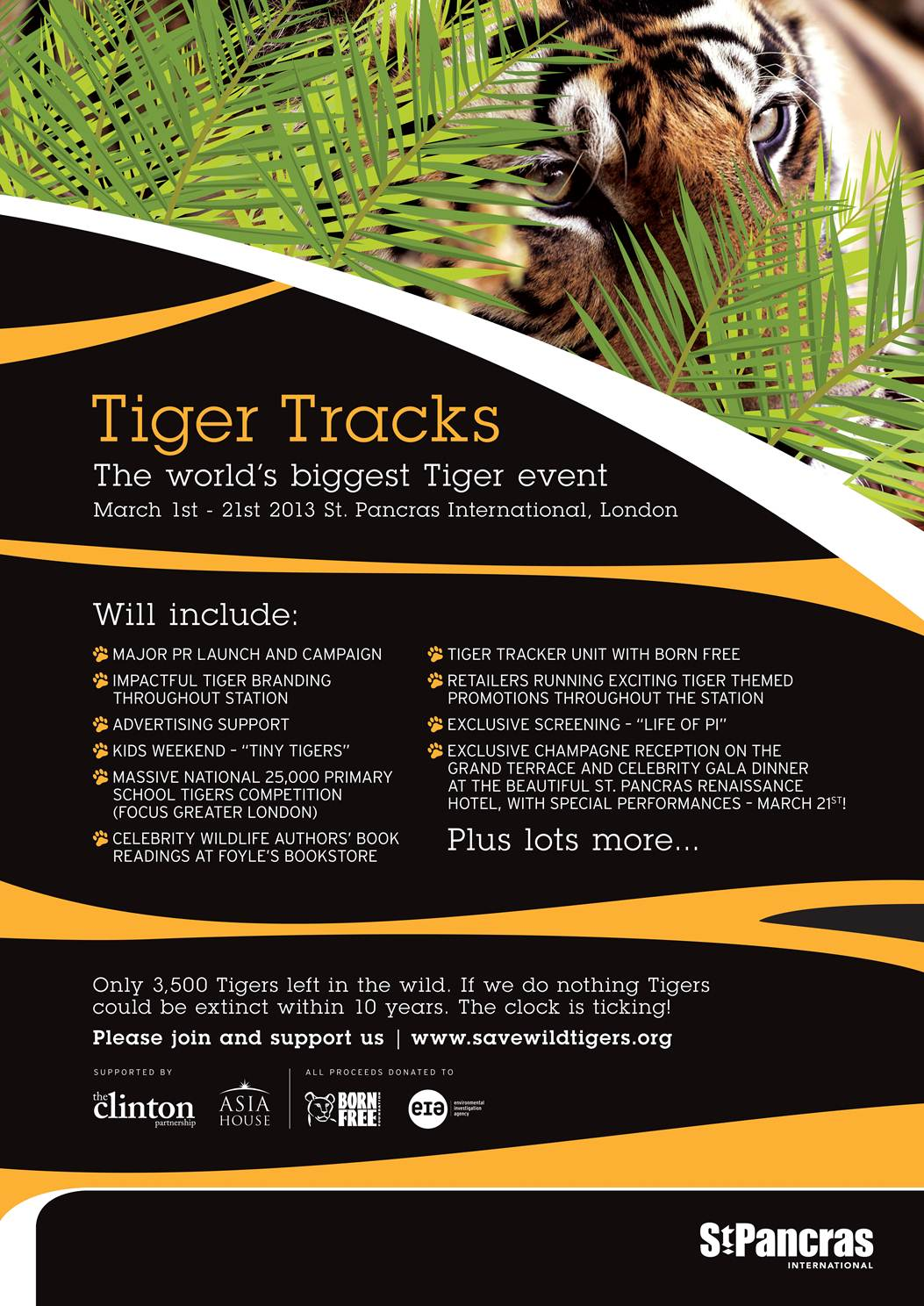 """Save Wild Tigers"" ""Tiger Tracks"" ""St Pancras"""